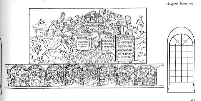 5c18ad3d8da Billede 4 – Nordvæg sidste del mod højre- Pavens angreb på himmelborgen –  forneden fortsat passionsfrise (Nationalmuseet s 63)